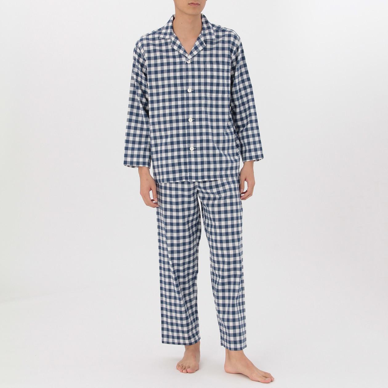 脇に縫い目のない二重ガーゼパジャマ