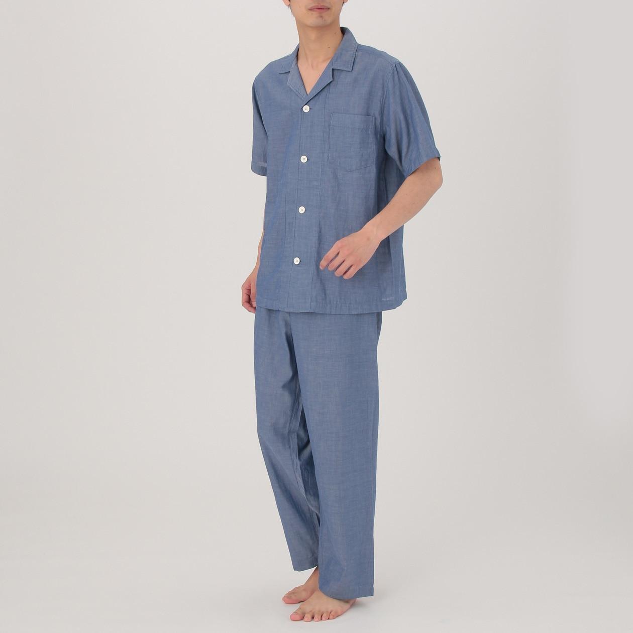 脇に縫い目のない細番手二重ガーゼ半袖パジャマ