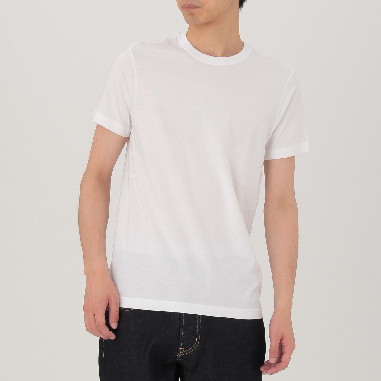 脇に縫い目がない 天竺編みクルーネック半袖Tシャツ・2枚組