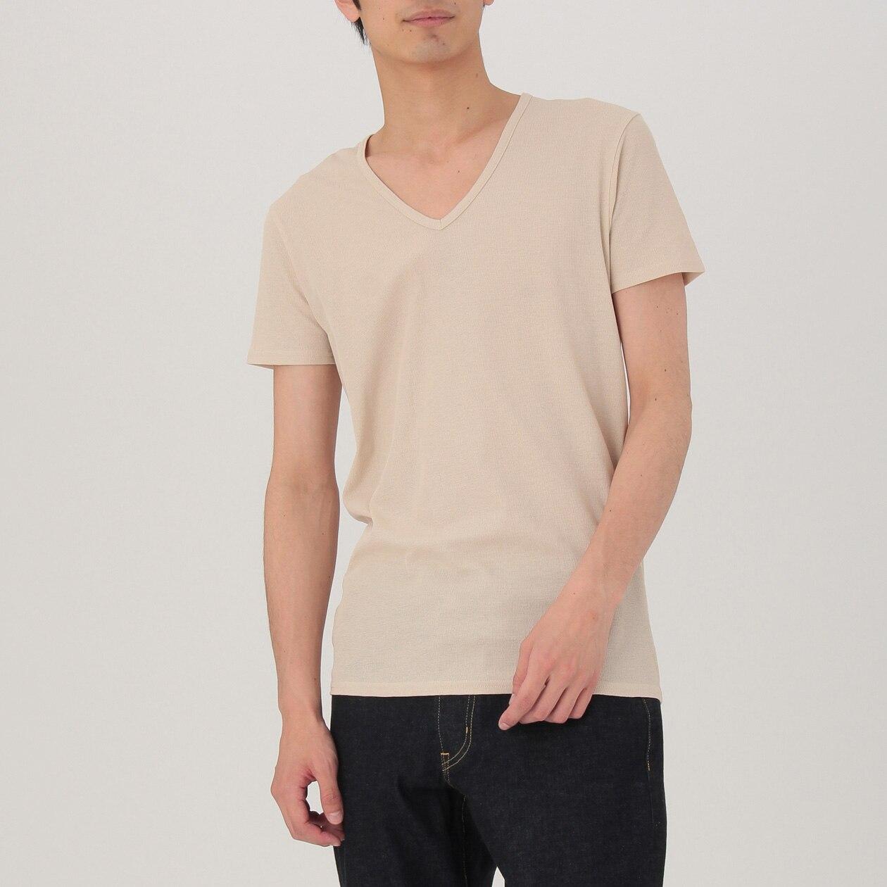 さらっとした 涼感メッシュ編みVネック半袖Tシャツ