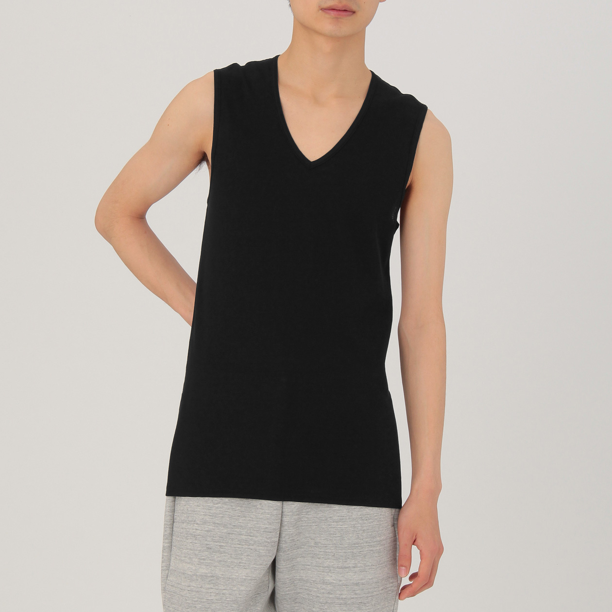 78344604faa SMOOTH COOL TOUCH MESH V NECK SLEEVELESS MEN L BLACK | MUJI