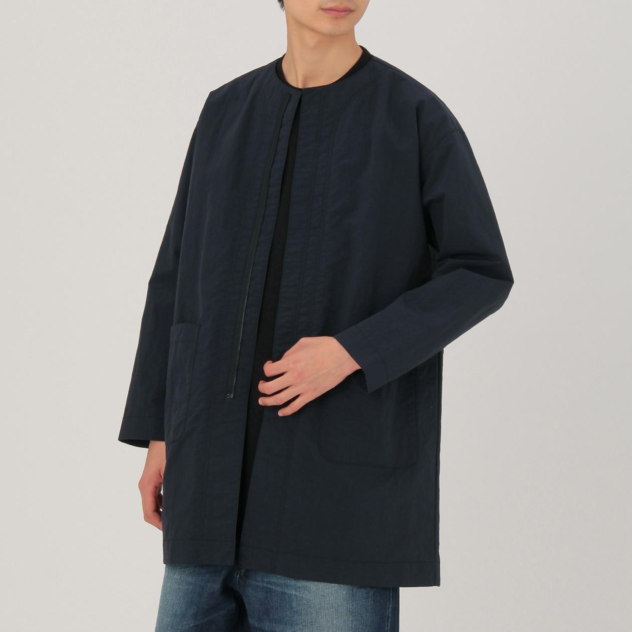 軽量フレンチダウンポケッタブルノーカラージャケット/婦人M・カーキグリーン