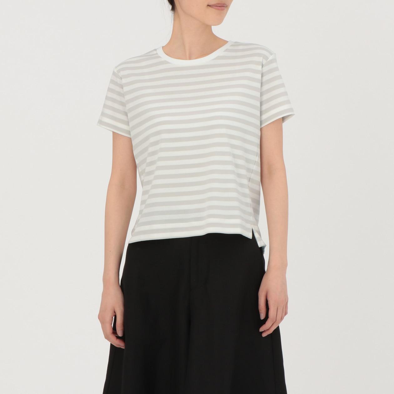 綿スムースクルーネックボーダーTシャツ