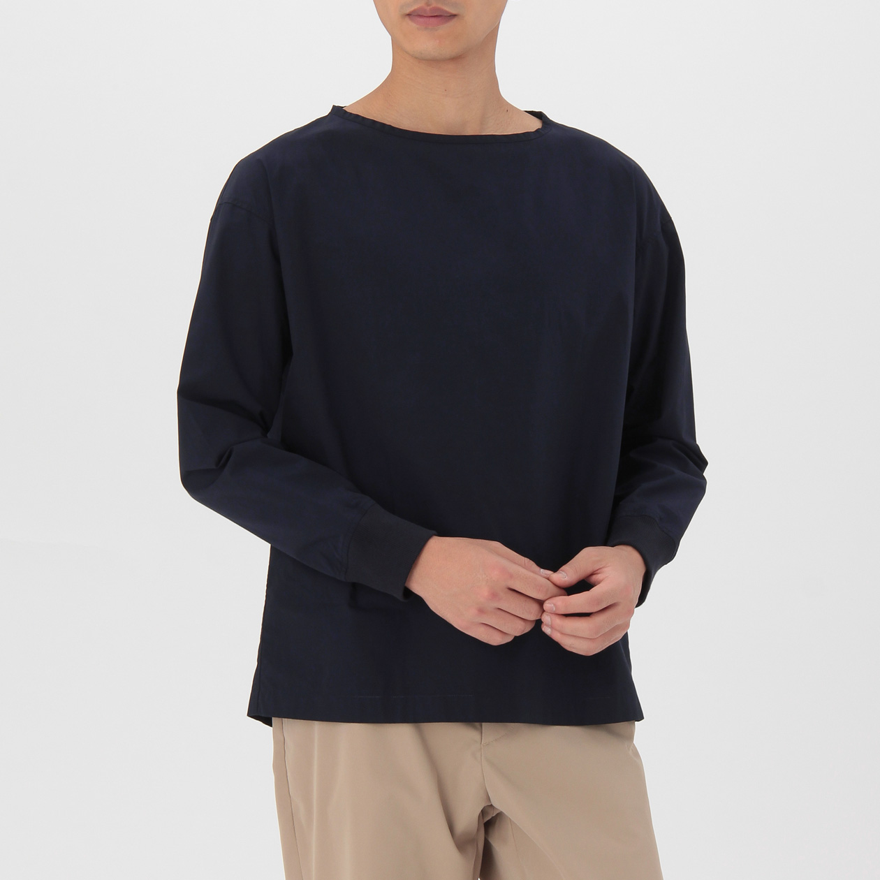 無印良品 | オーガニックコットンブロードプルオーバーリブ付シャツ紳士S・白 通販
