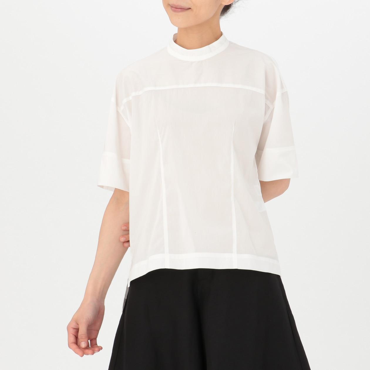 綿混ブロード半袖ブラウス XS~S・白