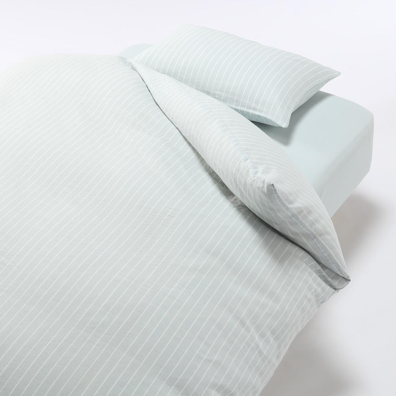 オーガニックコットンふとんカバーセット/ライトブルー/細ストライプ ベッド用 ライトブルー/細ストライプ ベッド用の写真