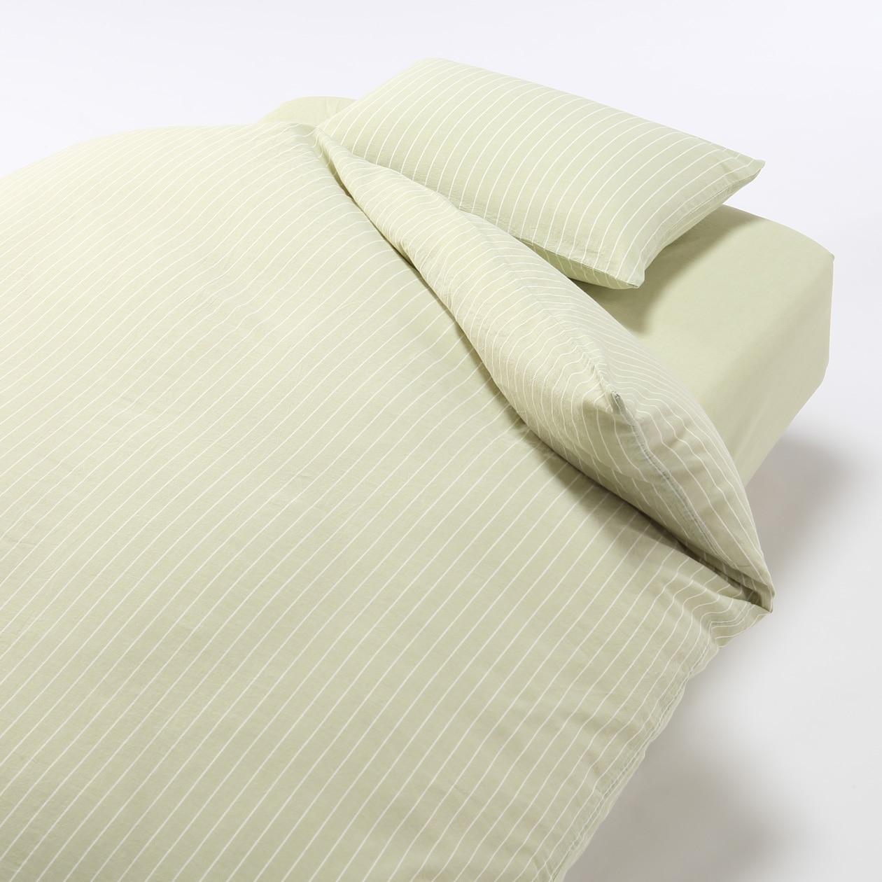 オーガニックコットンふとんカバーセット/ライトブルー/細ストライプ ベッド用 ライトグリーン/細ストライプ ベッド用