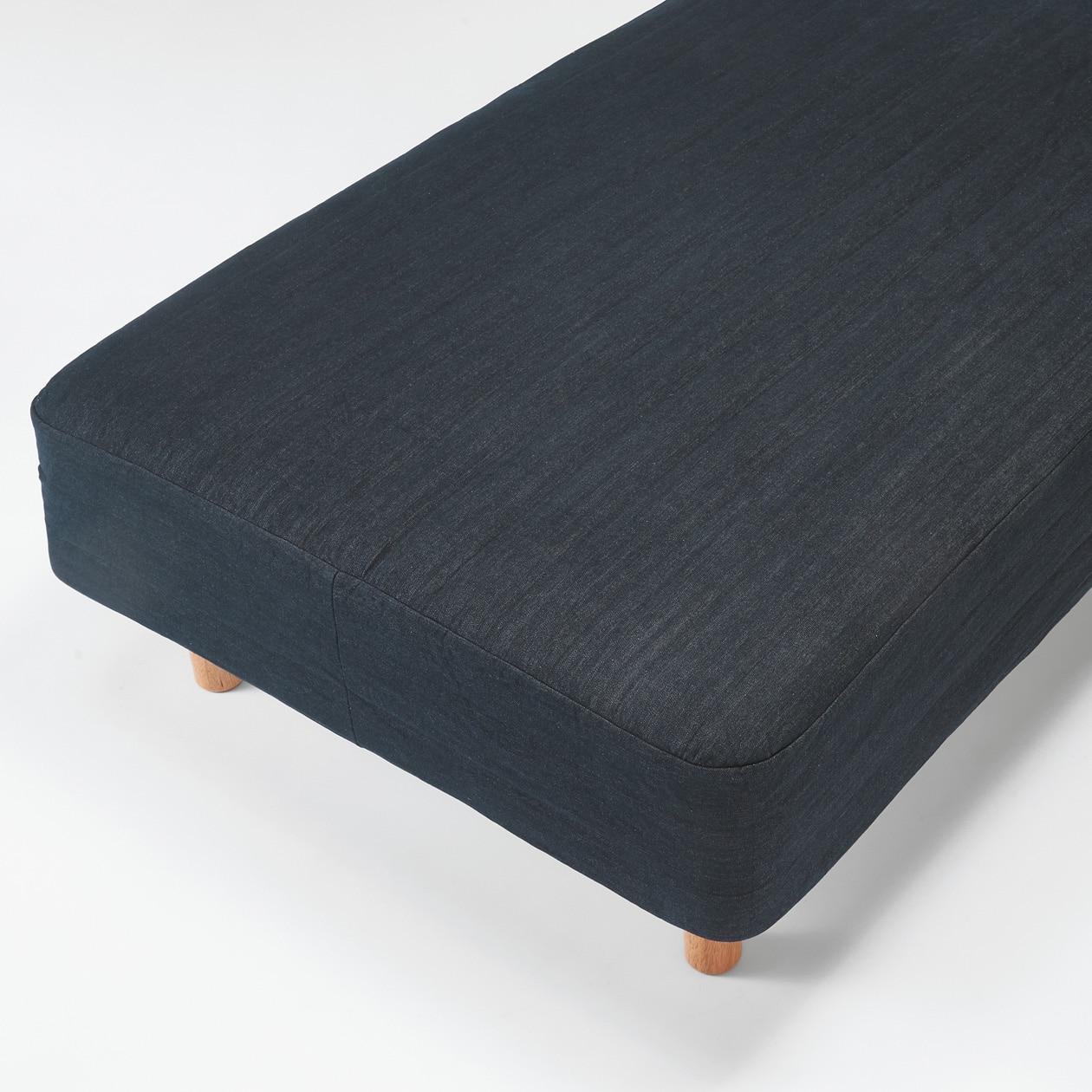 洗いざらしの綿デニム脚付マットレス用カバー・シングル・ネイビー