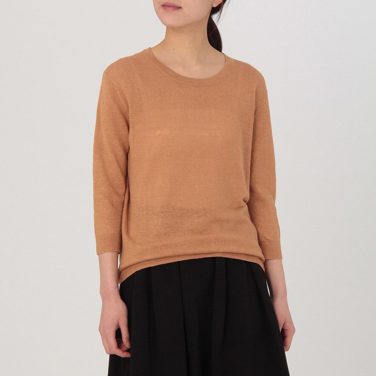 フレンチリネンUVカットラウンドネックセーター(七分袖)