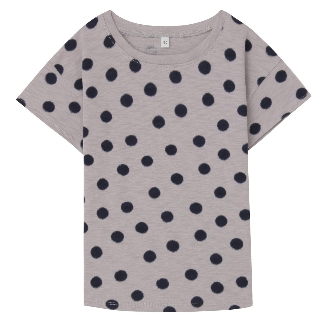 毎日のこども服オーガニックコットンムラ糸水玉半袖Tシャツ(キッズ)