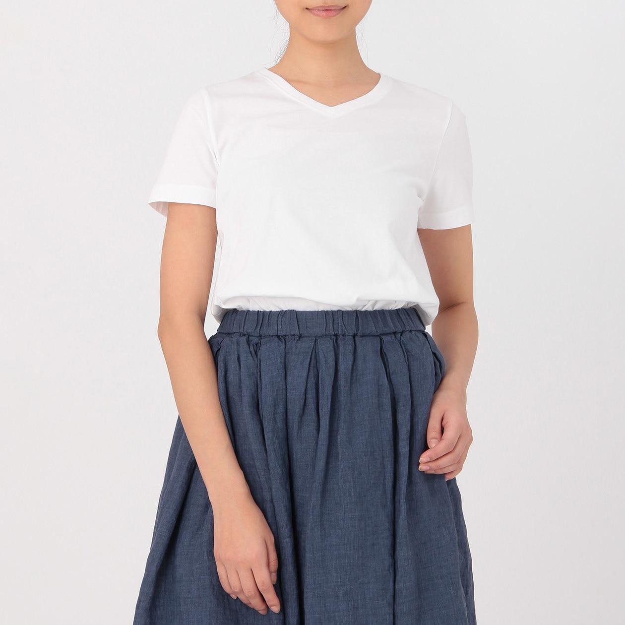 インド綿天竺編みVネック半袖Tシャツ(白)