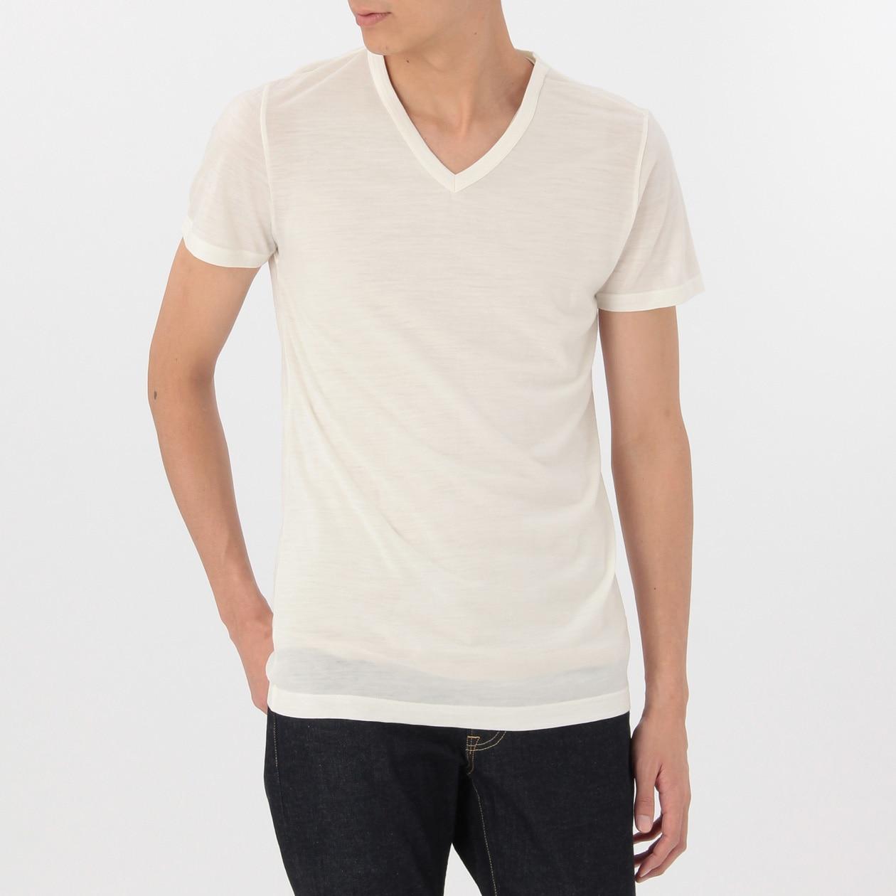 洗えるウールVネック半袖Tシャツ