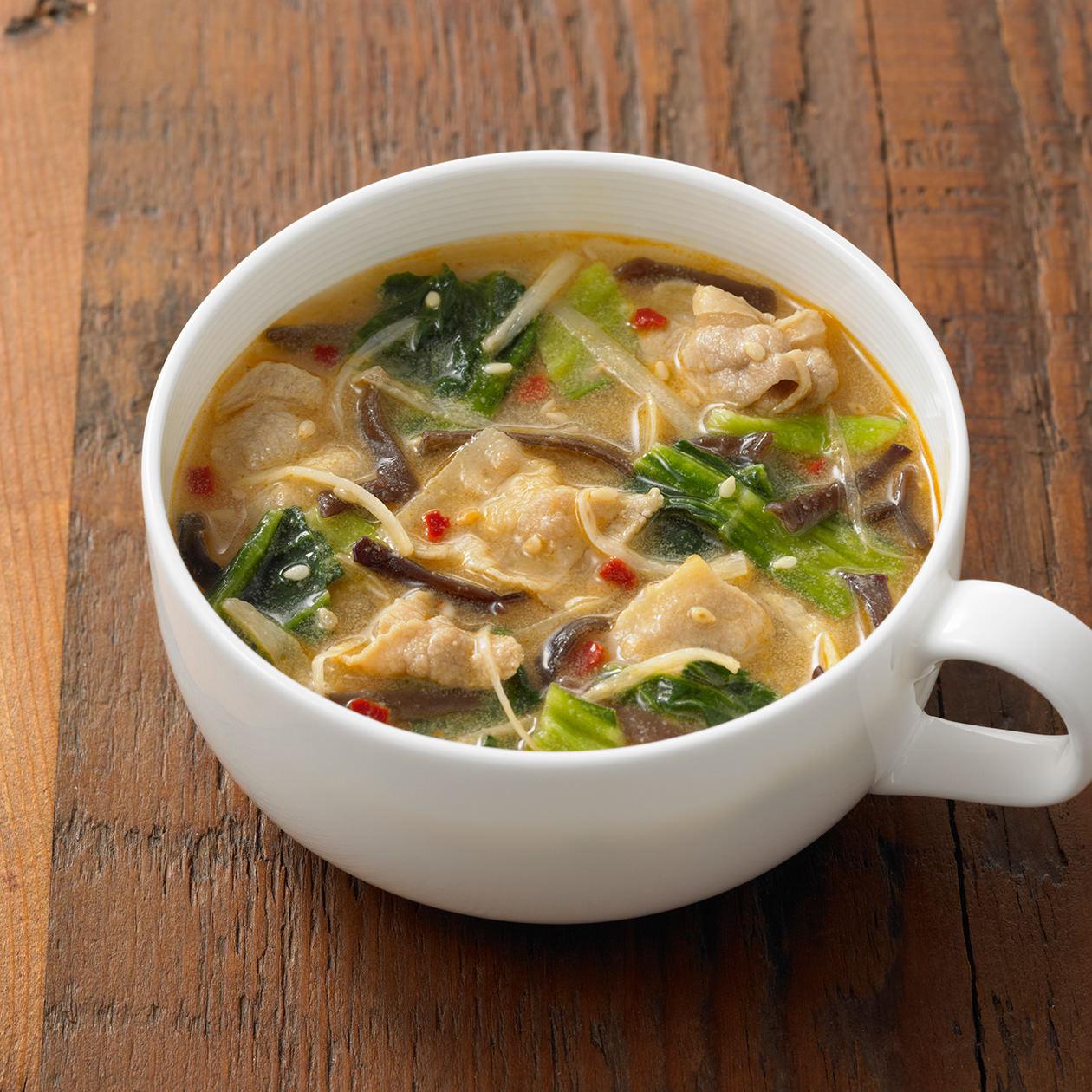食べるスープ 豚肉とチンゲン菜の胡麻味噌担々スープ