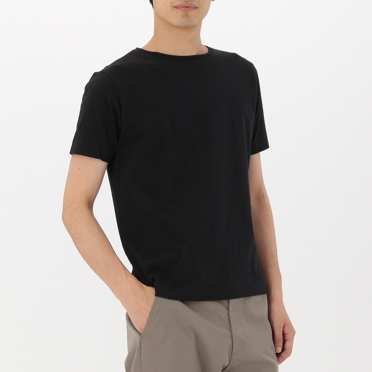 綿クルーネック半袖Tシャツ・ヘビーウェイト・2枚組 紳士S・黒