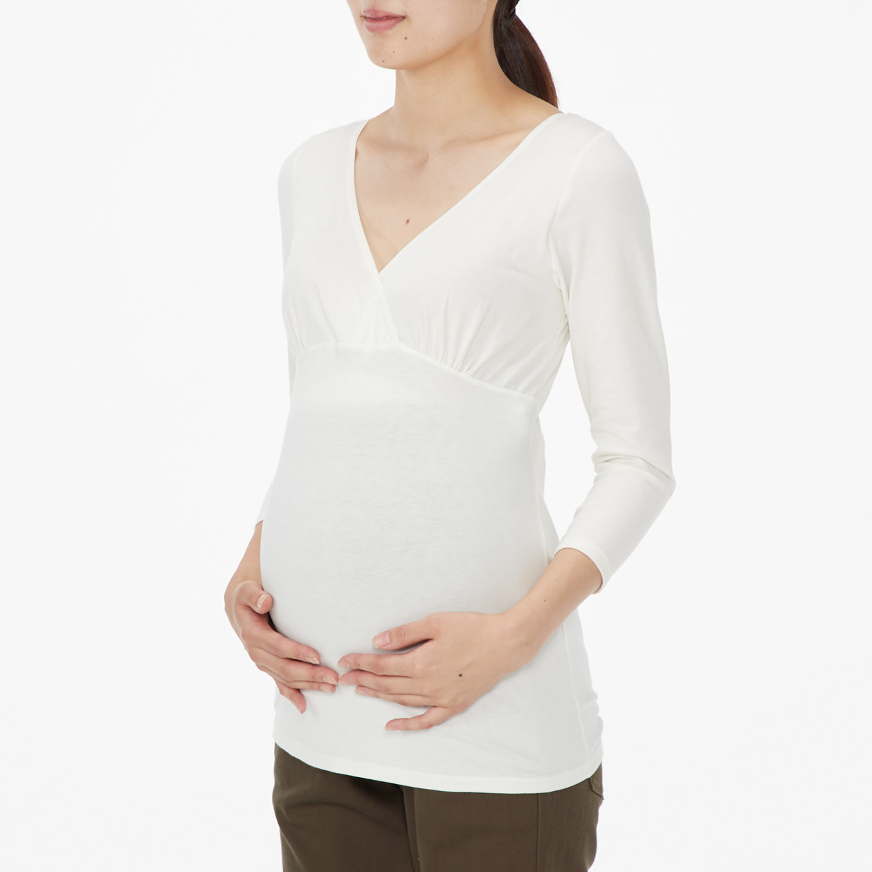 シルク入り授乳に便利なカップ付カシュクール八分袖
