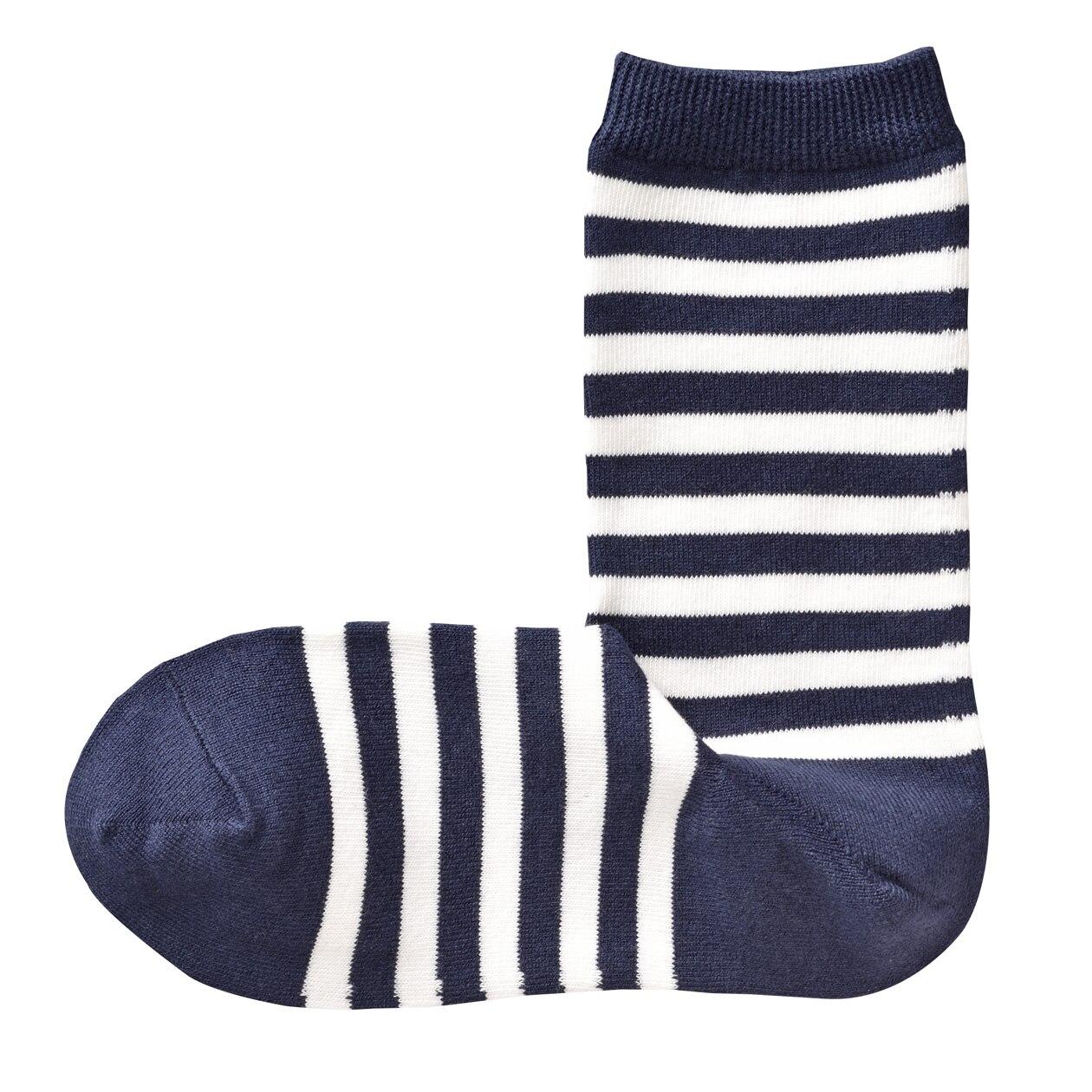 オーガニックコットン混足なり直角 口ゴムなしボーダー柄靴下(婦人・えらべる)