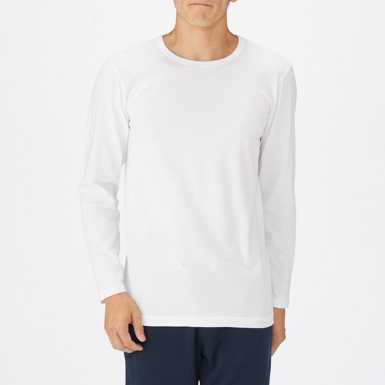 綿であったかクルーネック長袖Tシャツ