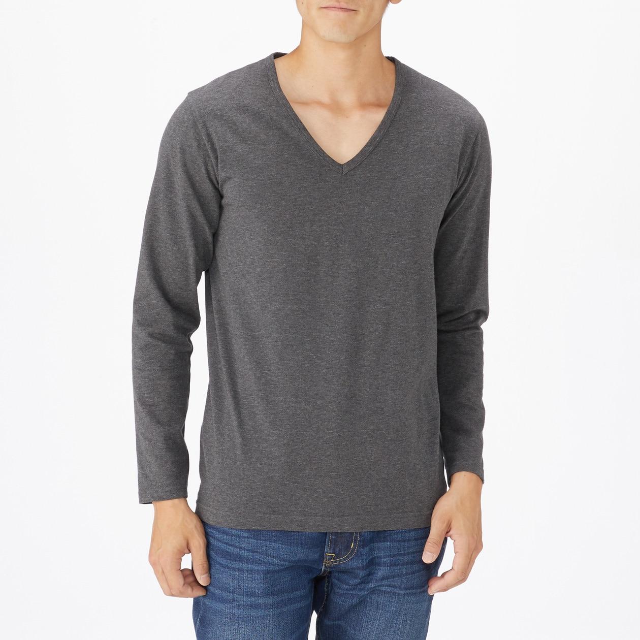 綿であったかVネック長袖Tシャツ 紳士XS・チャコールグレー