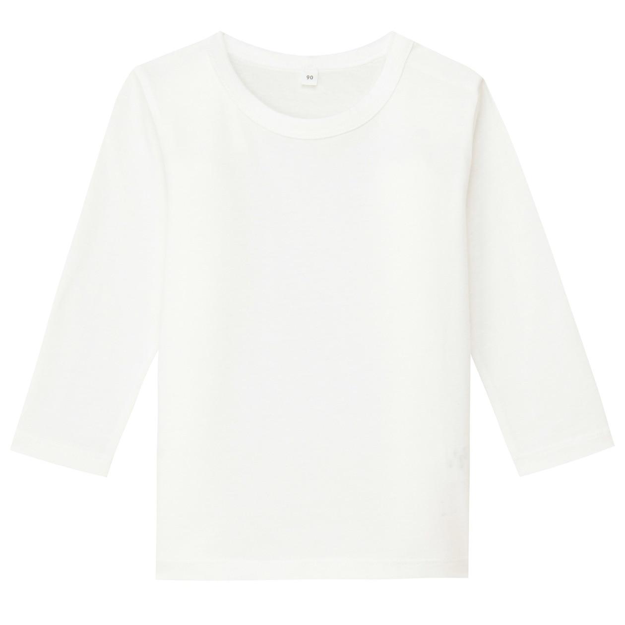 毎日のこども服オーガニックコットン長袖Tシャツ(ベビー) ベビー100・オフ白