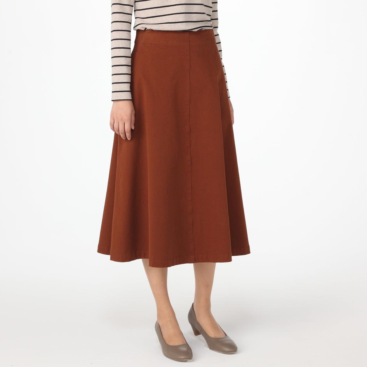 オーガニックコットン縦横ストレッチチノイージーフレアースカート