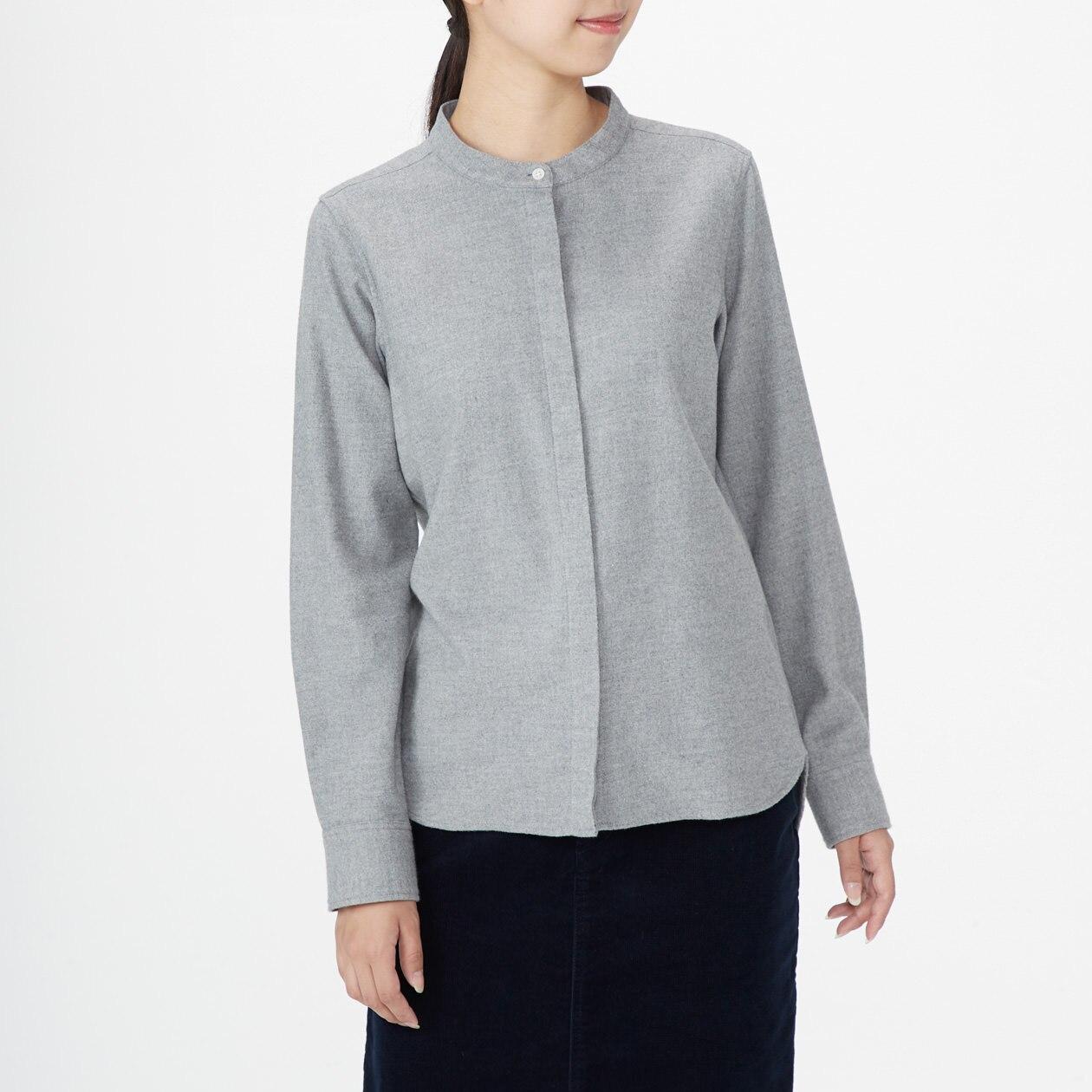 オーガニックコットンフランネルスタンドカラーシャツ