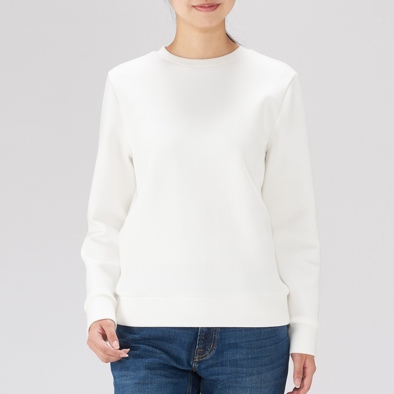綿混二重編み長袖プルオーバー