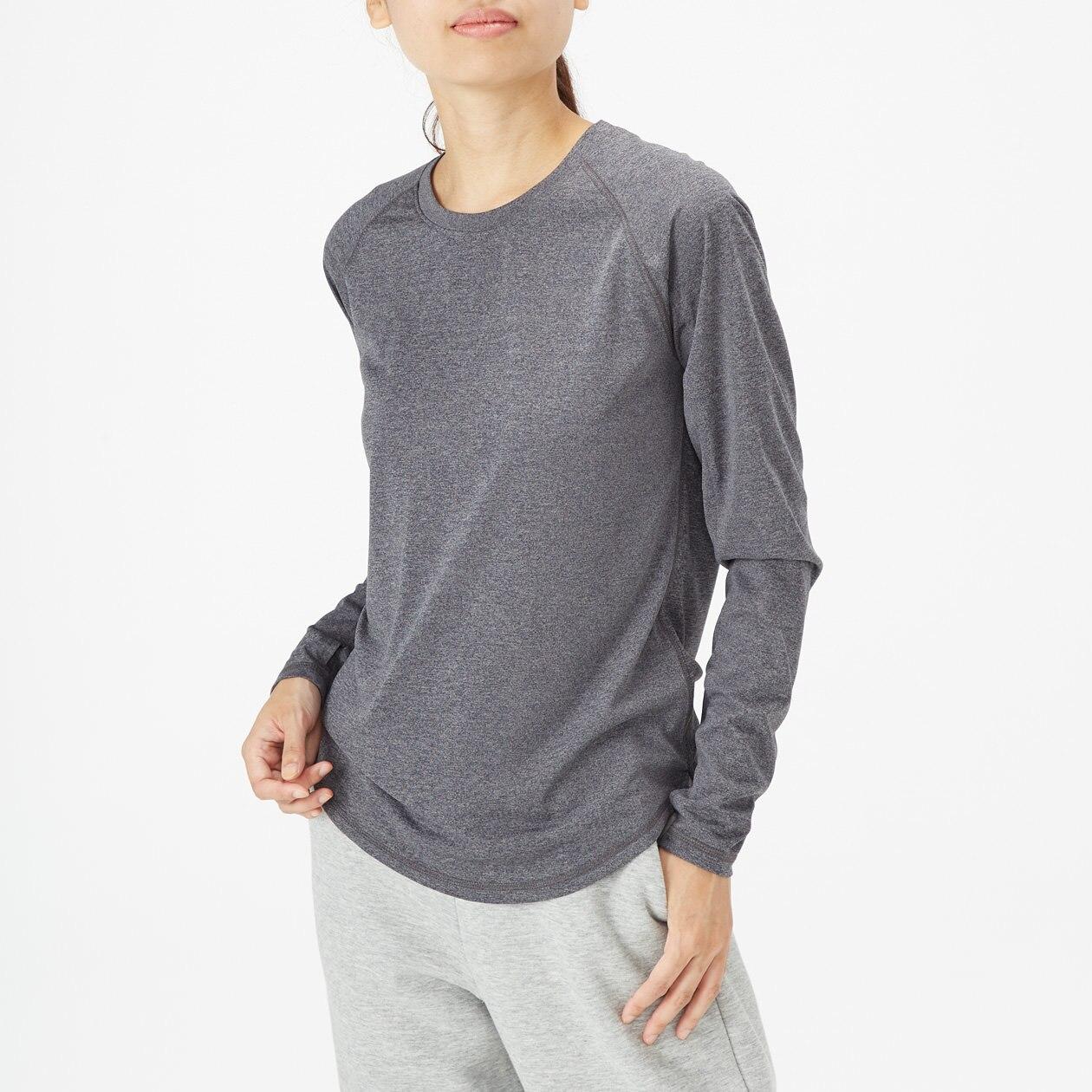 吸汗速乾UVカットクルーネック長袖Tシャツ