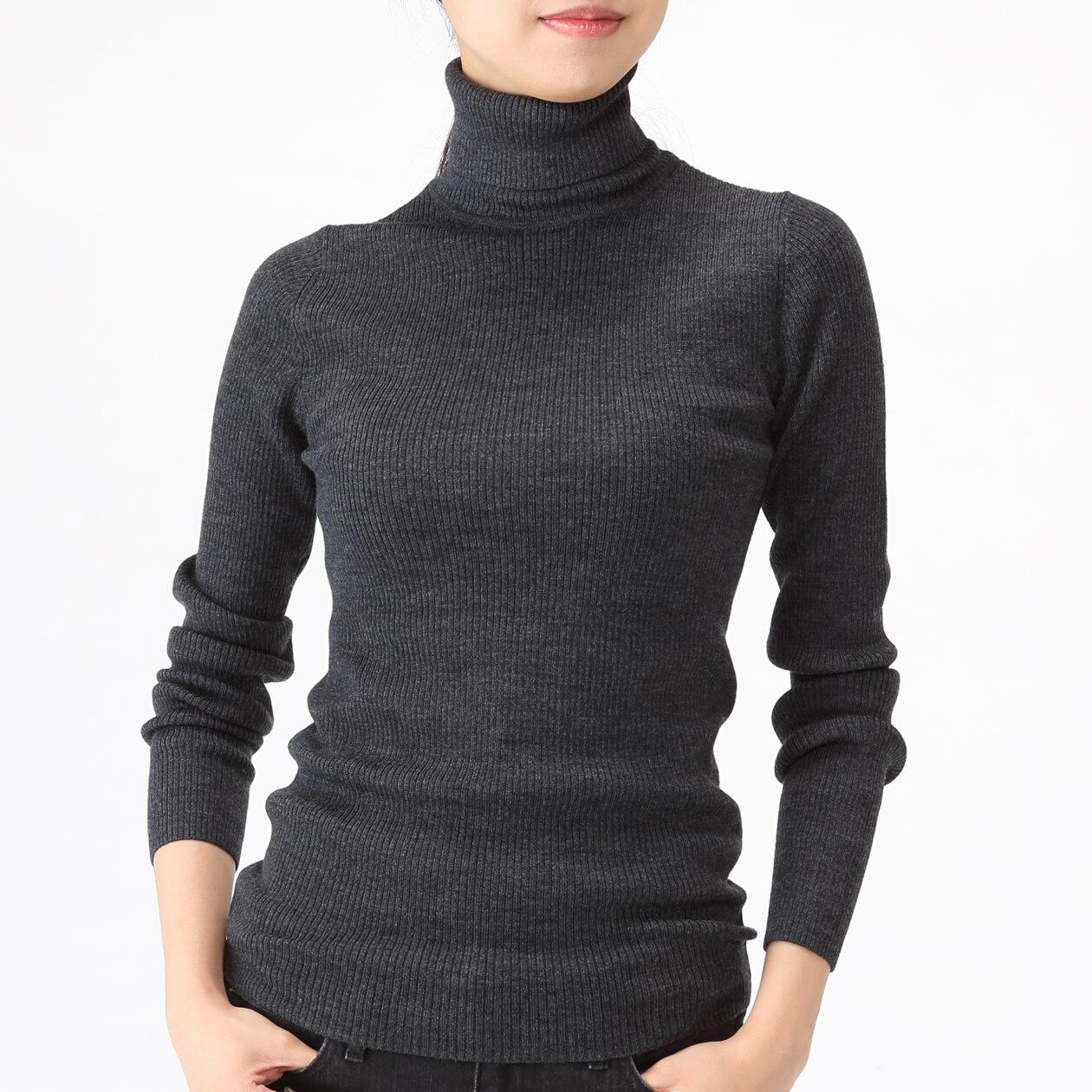 首のチクチクをおさえた・洗えるタートルネックセーター