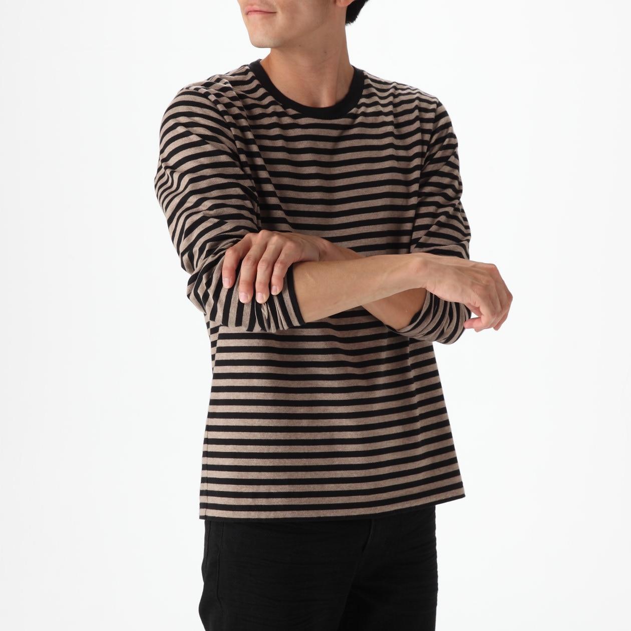 オーガニックコットンボーダークルーネック長袖Tシャツ