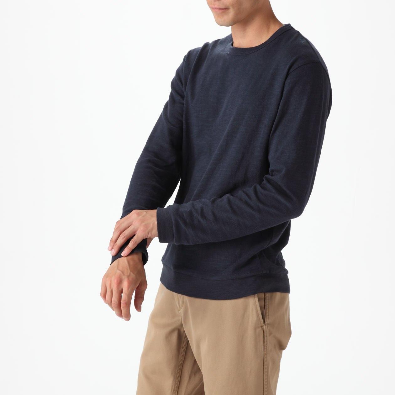 オーガニックコットンムラ糸長袖Tシャツ