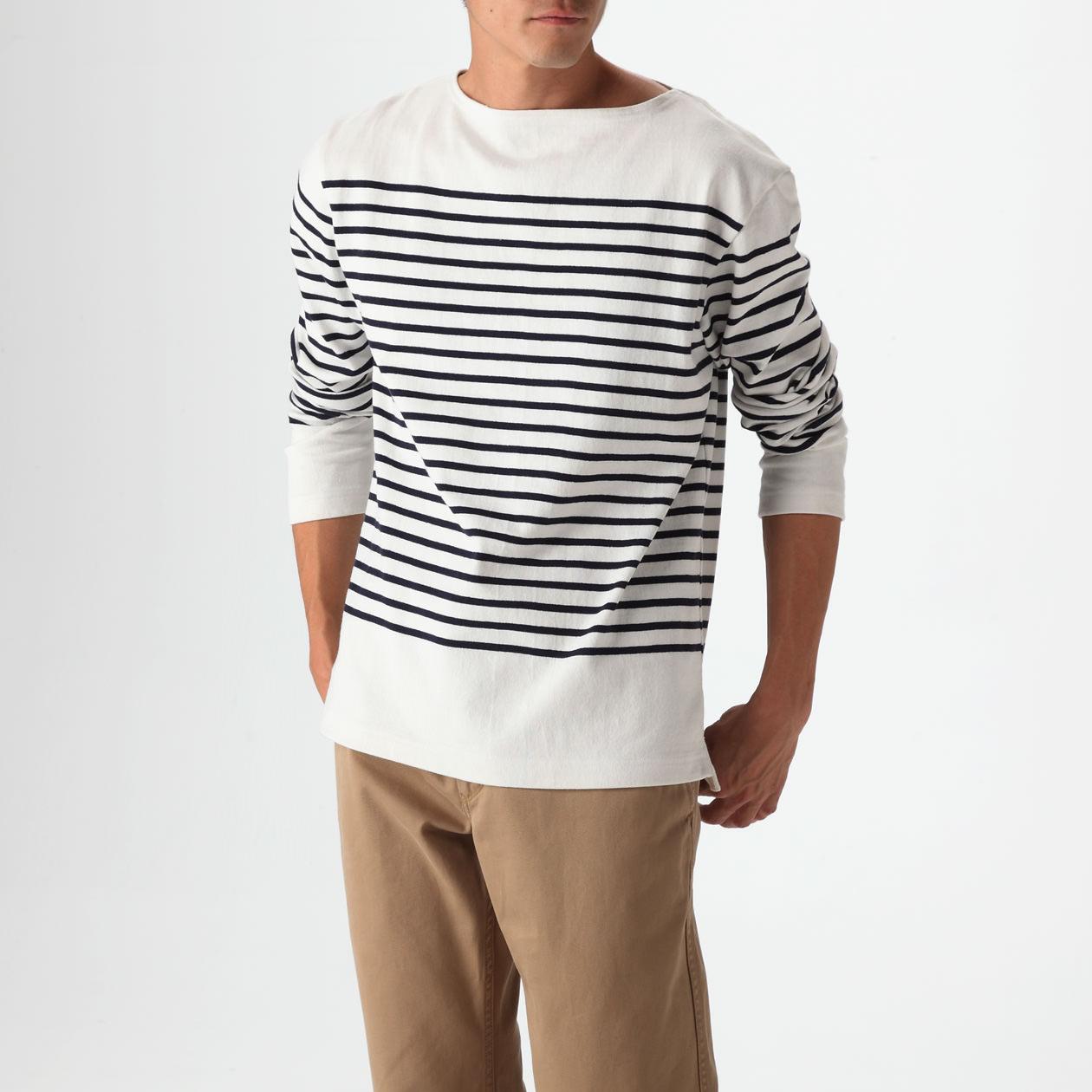 オーガニックコットン太番手パネルボーダー長袖Tシャツ