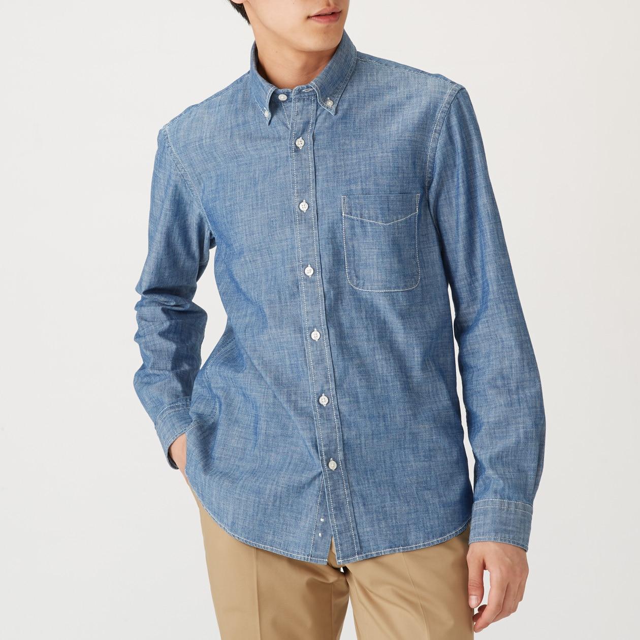 オーガニックコットンシャンブレーボタンダウンシャツ