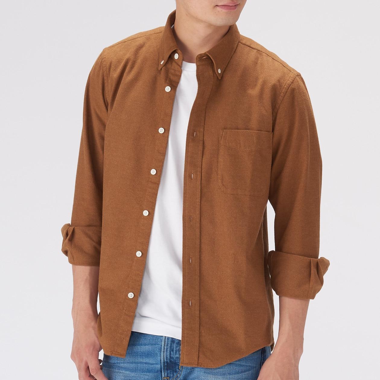 オーガニックコットンフランネルボタンダウンシャツ