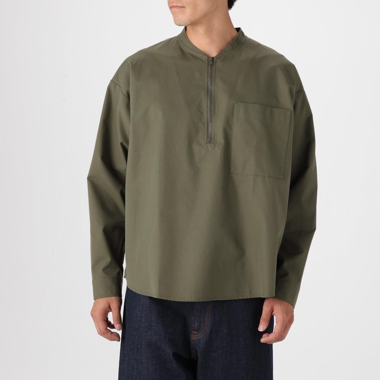 綿高密度プルオーバーシャツ