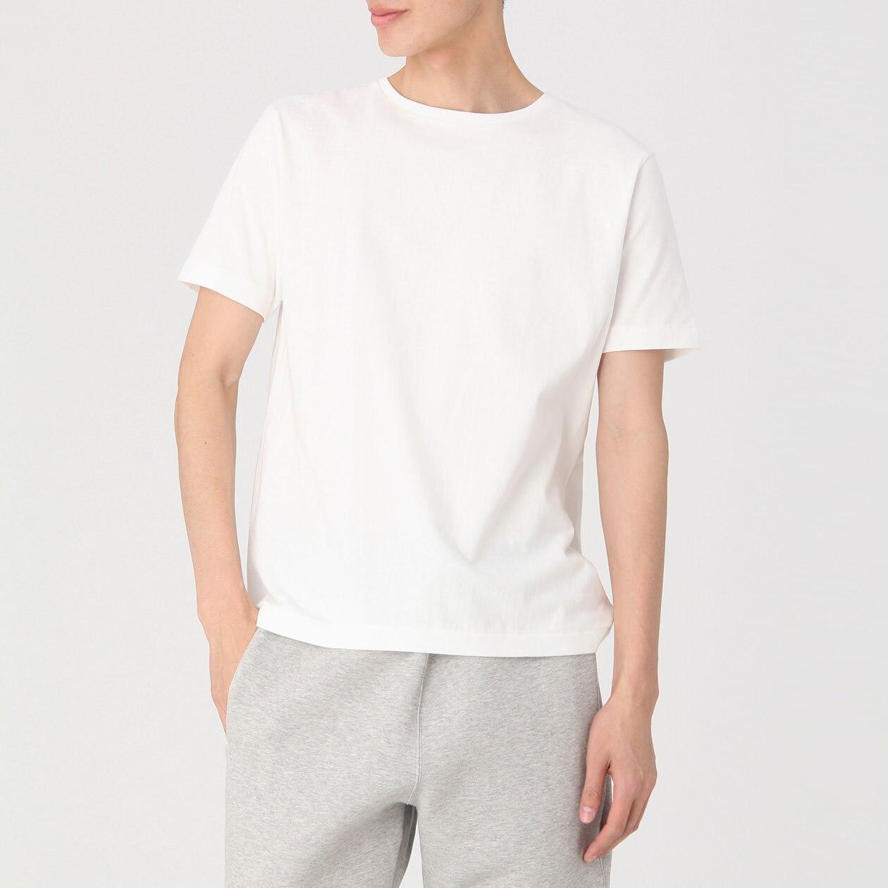 綿クルーネック半袖Tシャツ・ヘビーウェイト・2枚組 紳士XS・オフ白