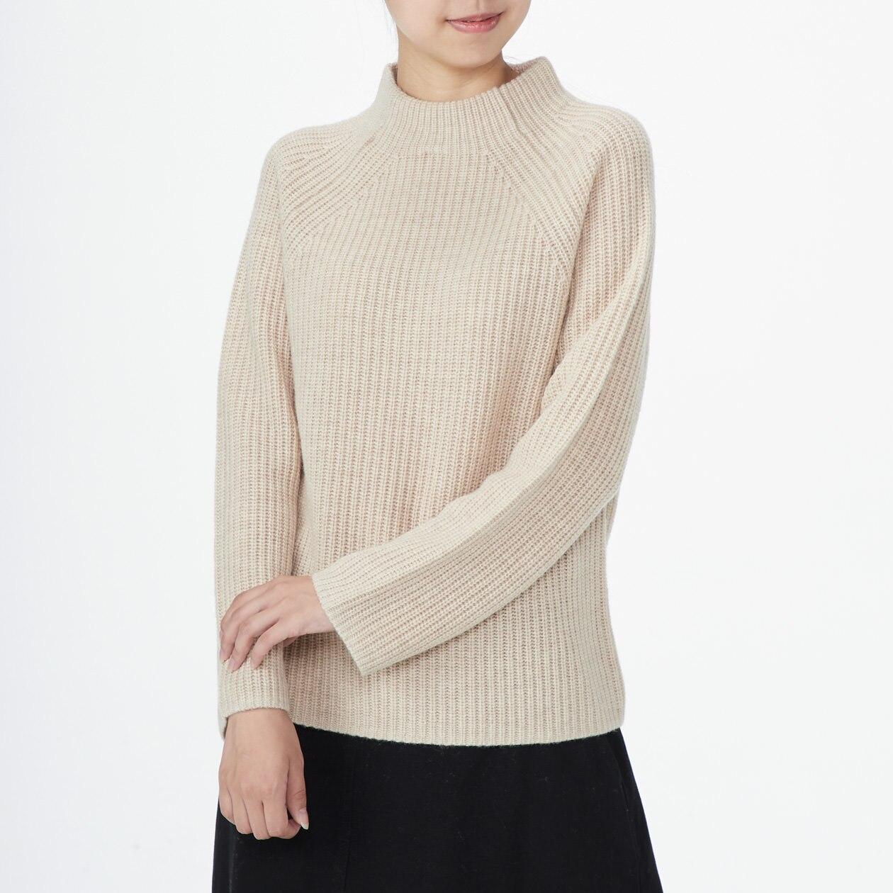 ヤク入りウール畦編みボトルネックセーター