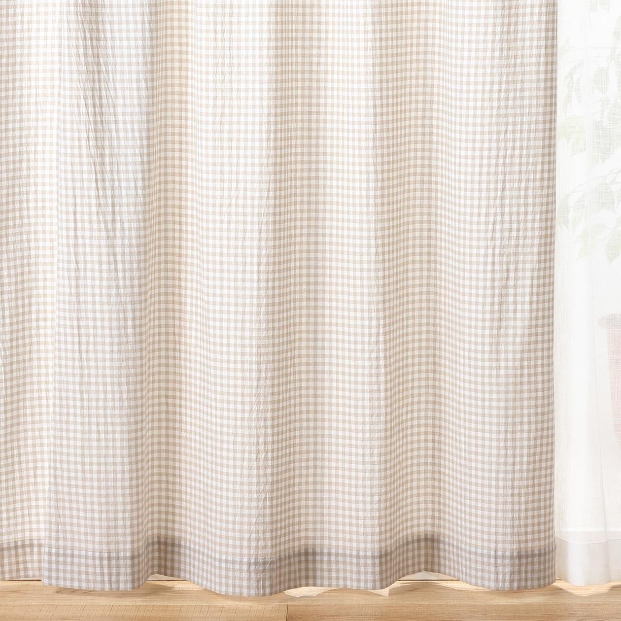 オーガニックコットン洗いざらしプリーツカーテン/ライトベージュチェック