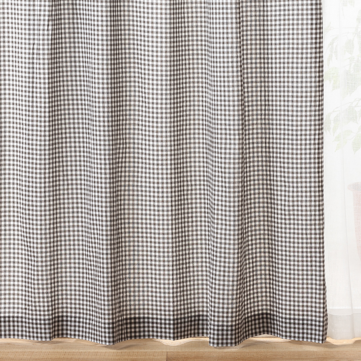 オーガニックコットン洗いざらしプリーツカーテン/ブラウンチェック