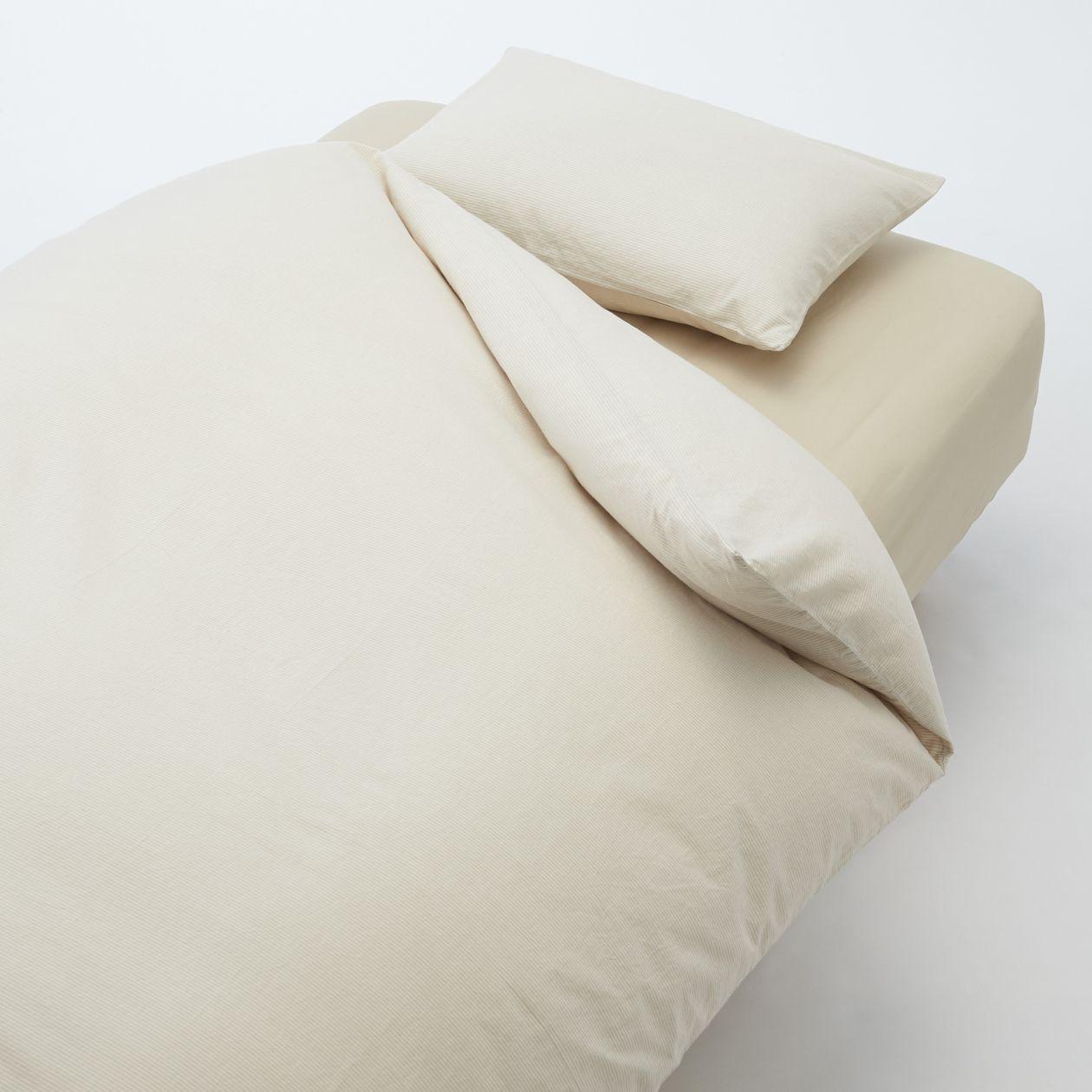 洗いざらし綿ふとんカバーセット/ベージュ/ボーダー ベッド用