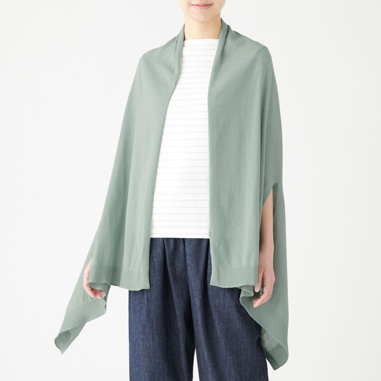 Organic Cotton High Twisted Uv Protection Cape With Holes