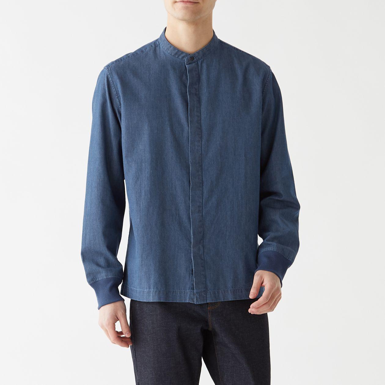 インド綿デニムスタンドカラーリブ付シャツ