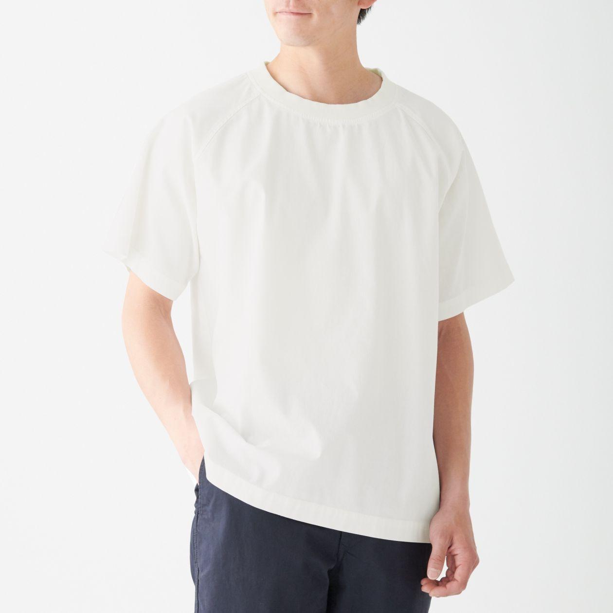 インド綿プルオーバー半袖シャツ S~M・白