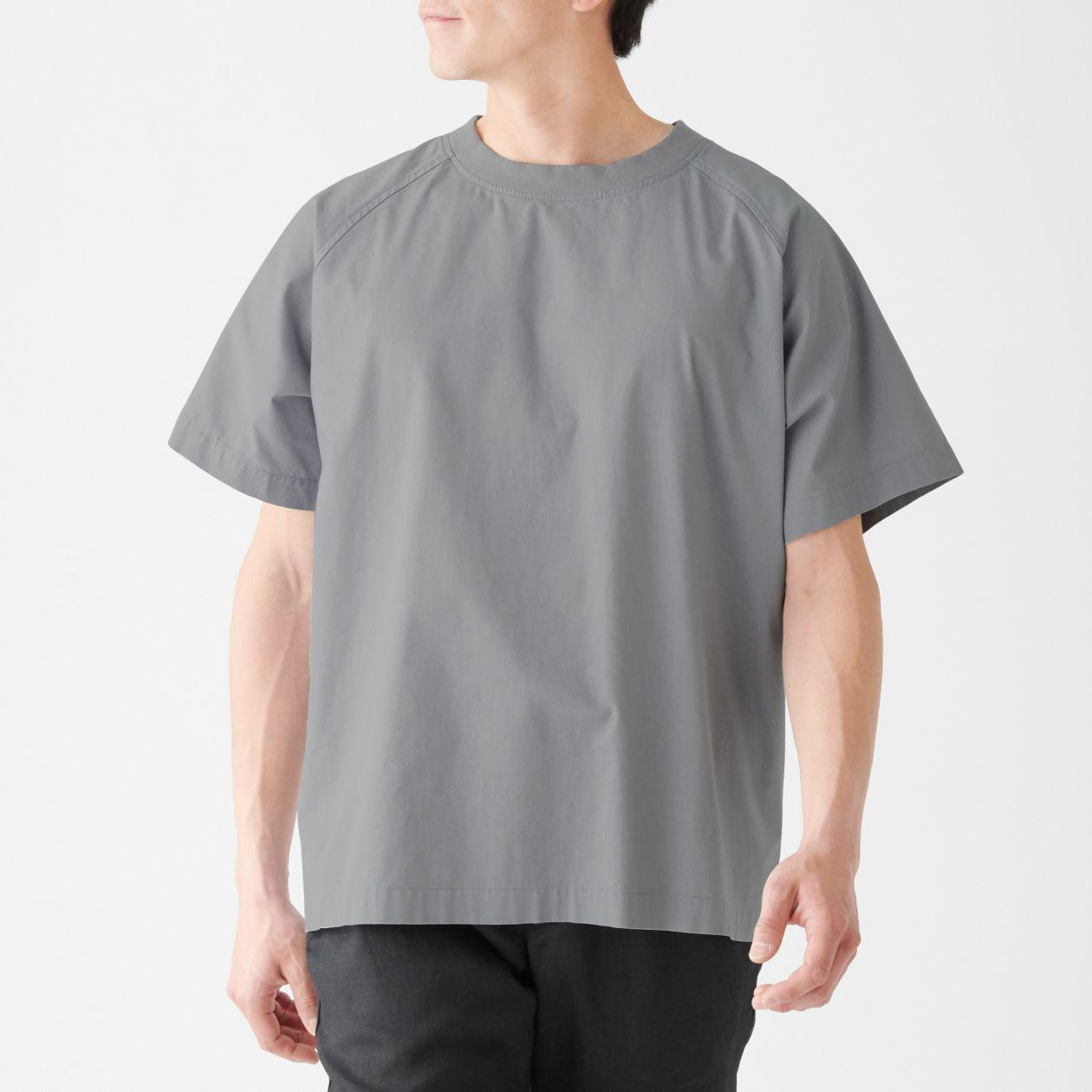 インド綿プルオーバー半袖シャツ S~M・グレー