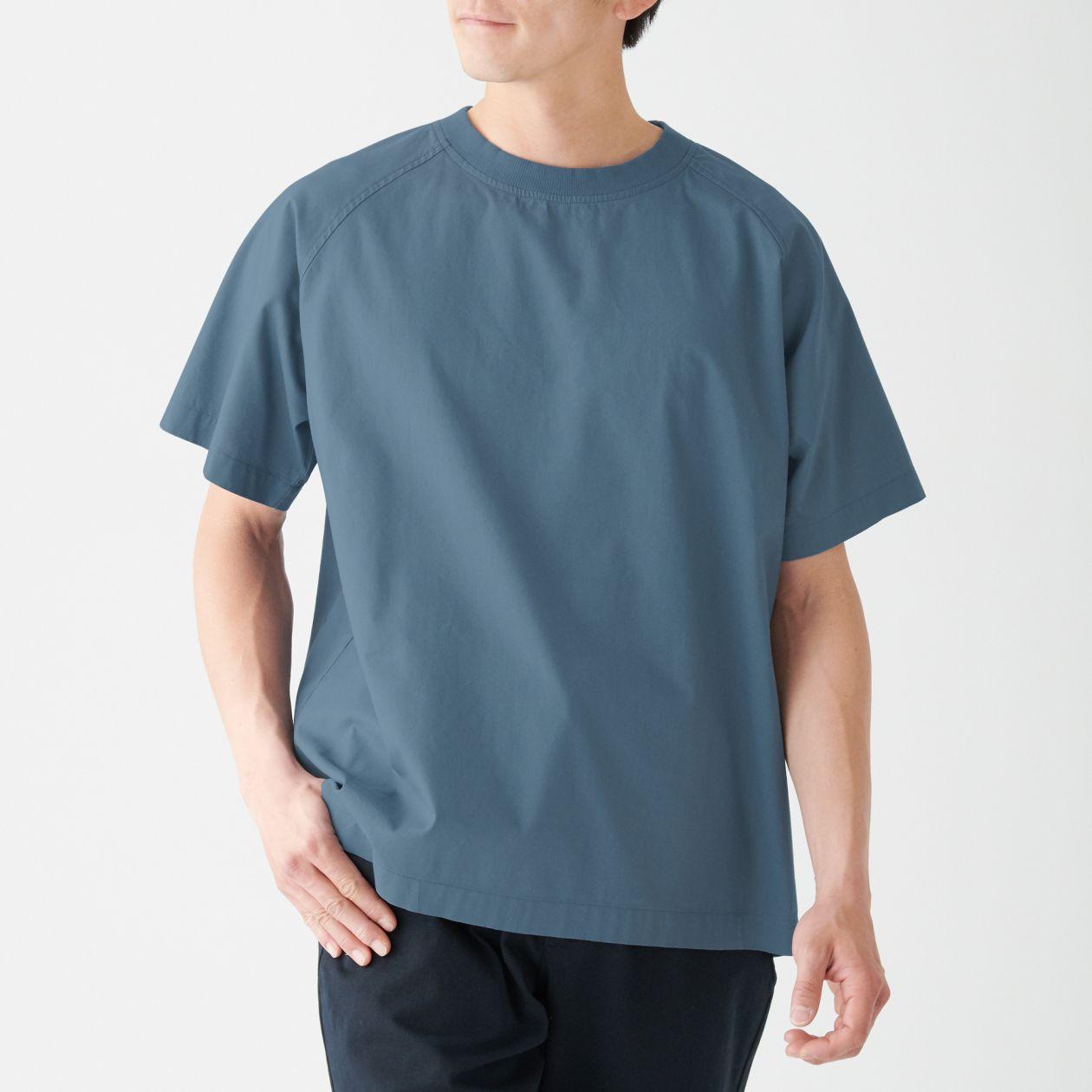 インド綿プルオーバー半袖シャツ S~M・スモーキーブルー
