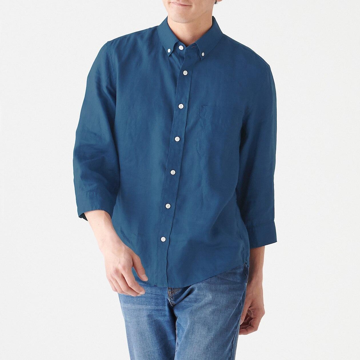 フレンチリネン洗いざらしボタンダウン七分袖シャツ