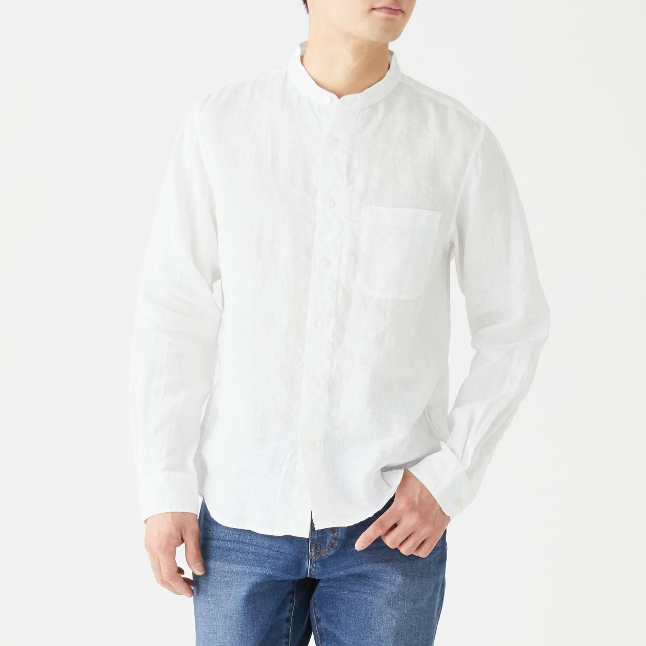 フレンチリネン洗いざらしスタンドカラーシャツ
