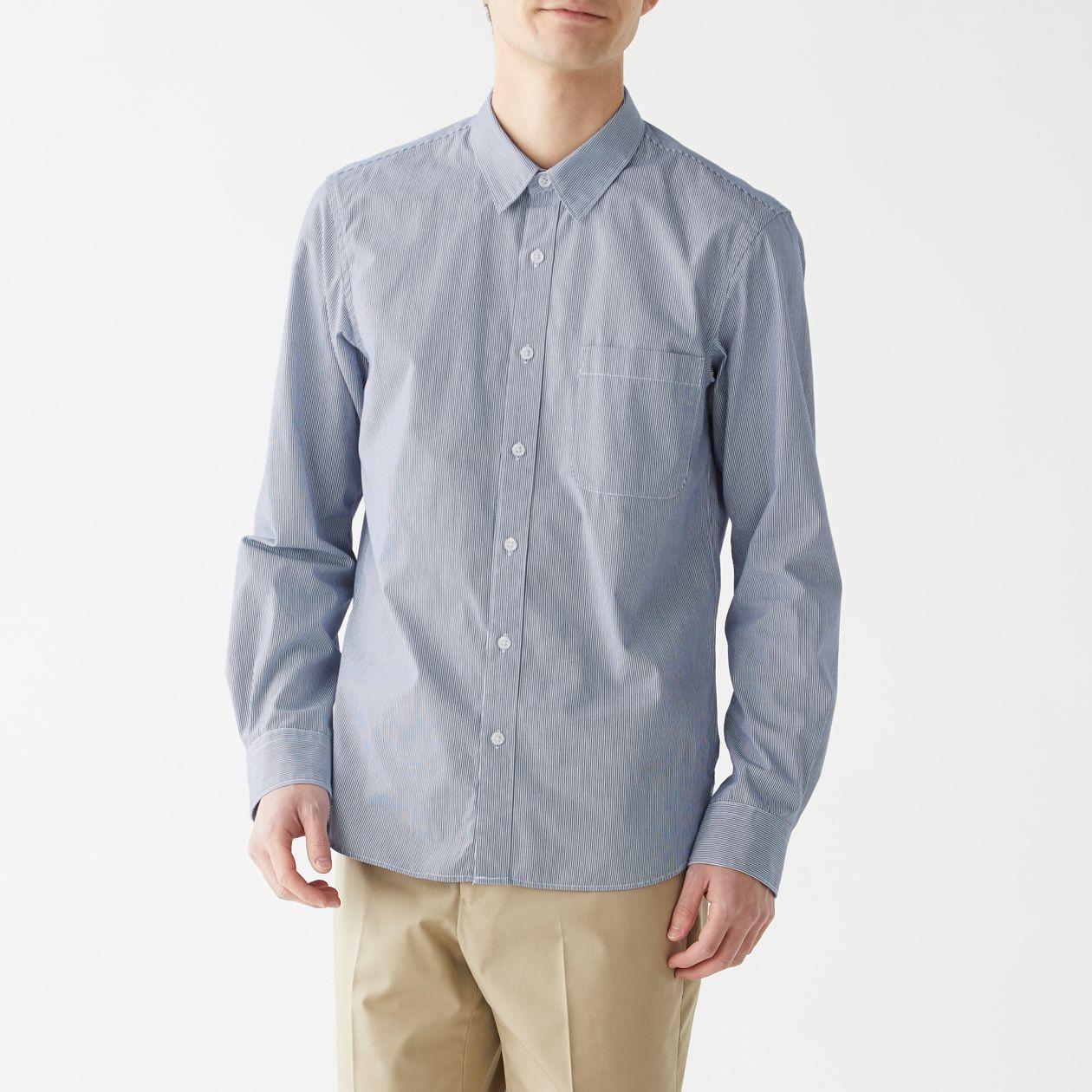 新疆綿洗いざらしブロードストライプシャツ