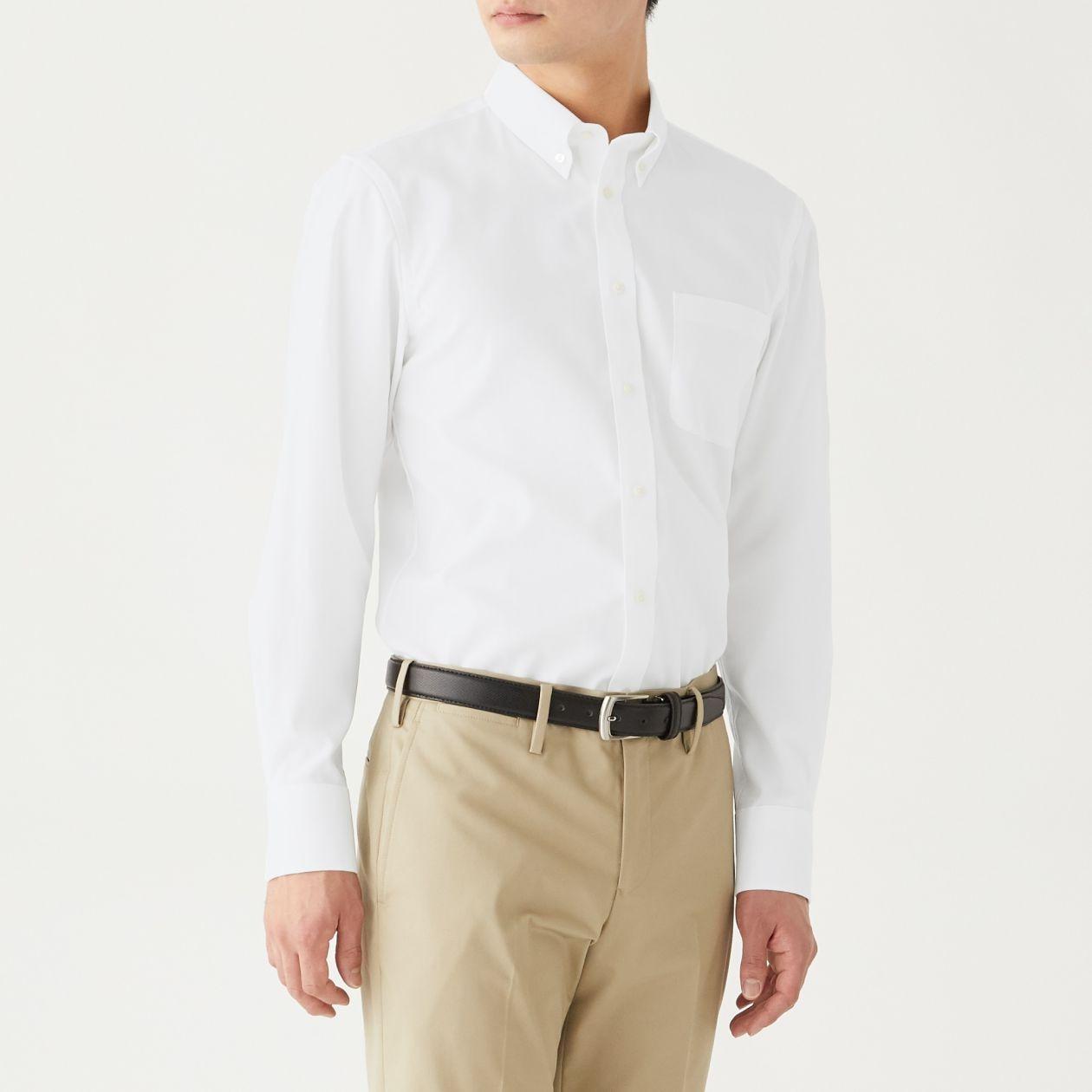 新疆綿ストレッチ形態安定オックスボタンダウンシャツ