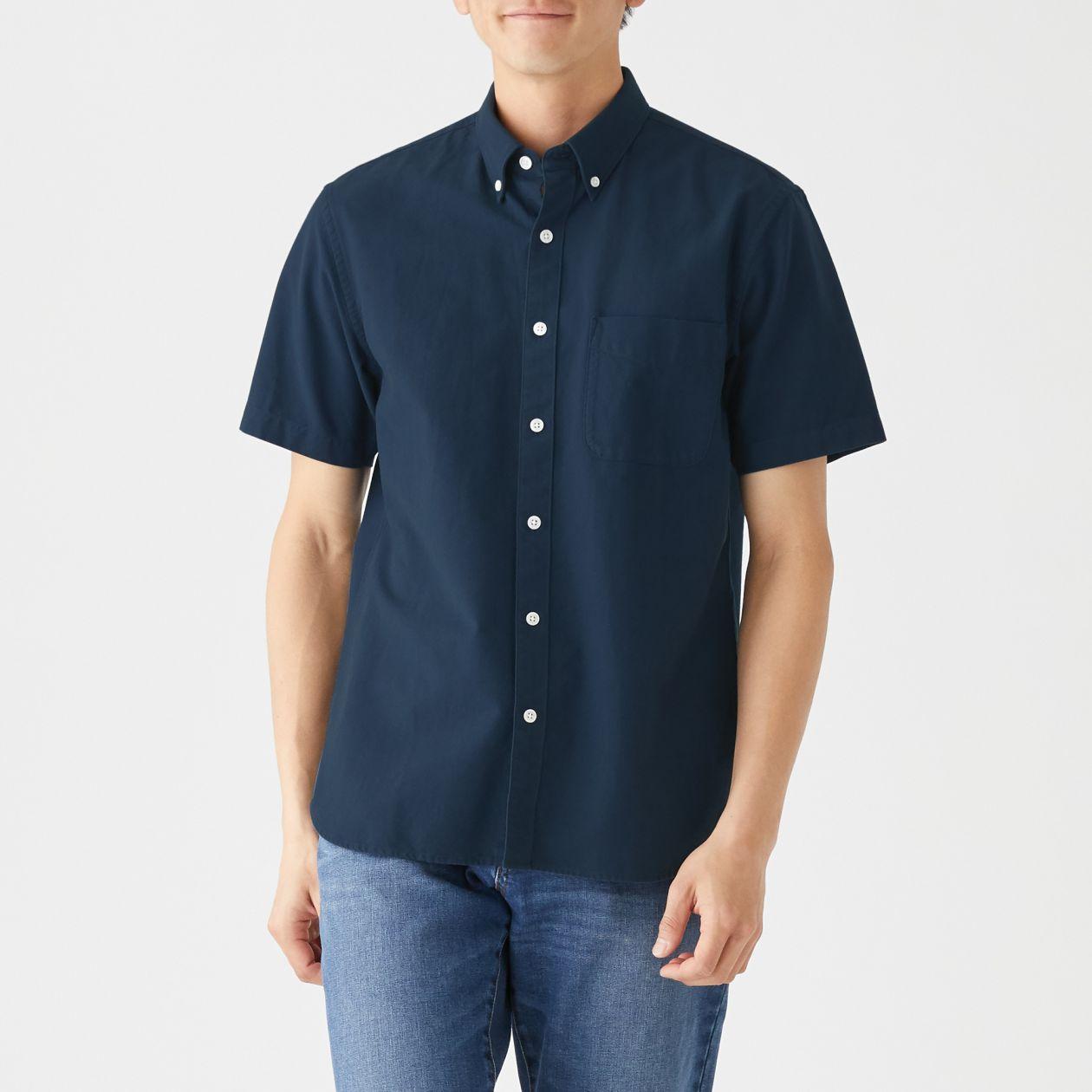新疆綿洗いざらしオックスボタンダウン半袖シャツ