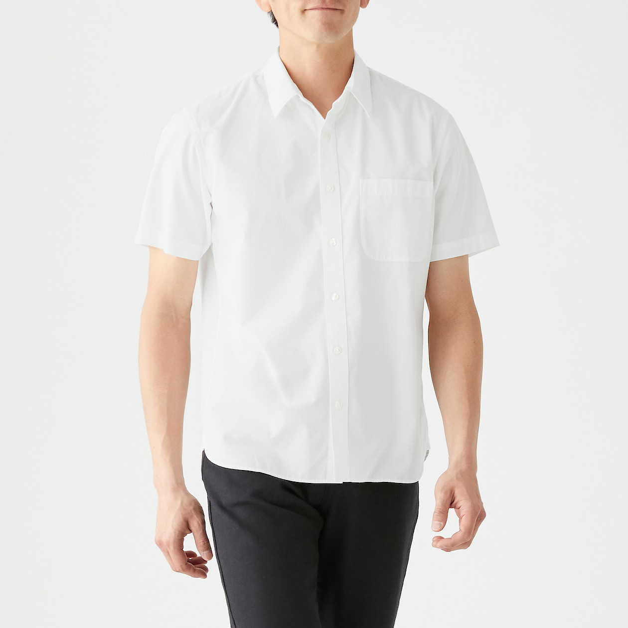 新疆綿洗いざらしブロード半袖シャツ